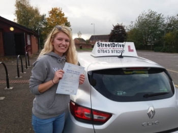 Congratulations to 'Ashleigh Helsby' who passed her driving test today at Trowbridge DTC, just SIX driving faults, great news.<br />