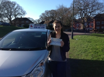 Congratulations to Chloe Chan who passed her driving test 1st Attempt on Monday 15th Feb 2016 very well done<br />