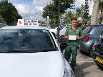 "Congratulations to ""Jamie Aguiar"" for passing his driving test today at Poole DTC, just ""FIVE"" driving faults.<br />