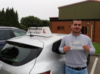 "Delighted for 'Sajmir Gjabri' who passed his driving test today at Westbury DTC, just ""THREE"" driving faults"", fantastic news.<br />